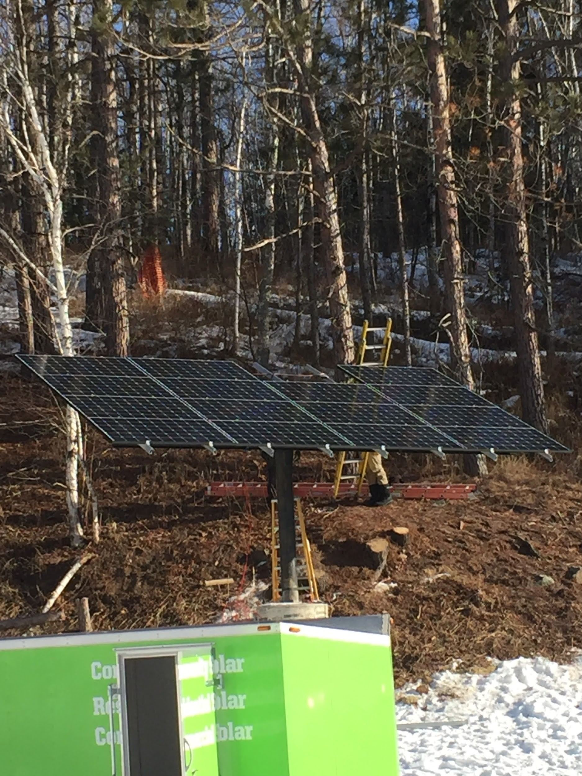 Lester Park Ski trail solar array under construction