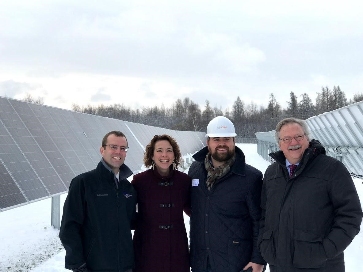 Community Solar Garden in Wrenshall, MN Pictured at the Grand opening: Frank Fredrickson (Minnesota Power), Mayor Larson, US Solar representative, and Chancellor Black (UMD)