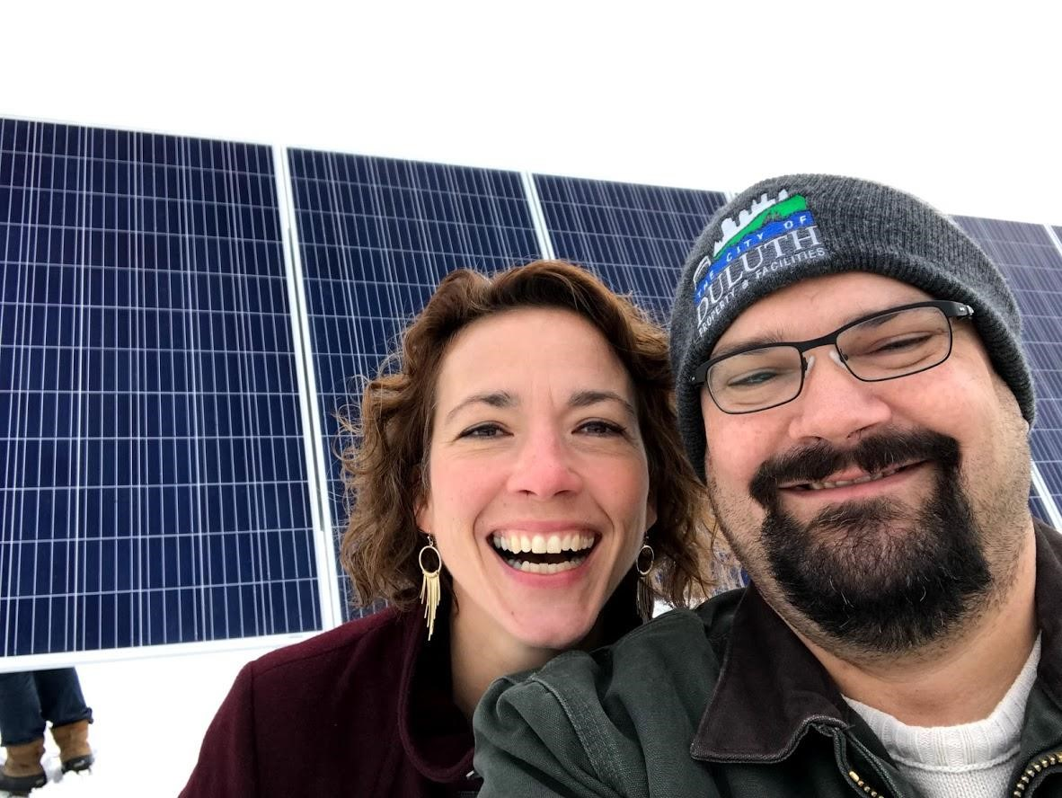 Alex Jackson and Mayor Larson at the Community Solar Garden grand opening November, 2017