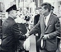 Duluth Fire Fighter Shakes Hands with John F Kennedy Sept 24, 1963